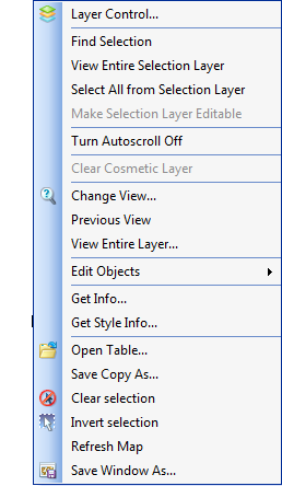 MapLink right click menu